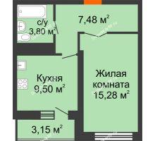 1 комнатная квартира 37,63 м², НЕБО на Ленинском, 215В - планировка