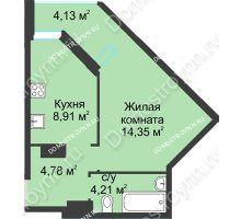 1 комнатная квартира 36,38 м² в ЖК На Вятской, дом № 3 (по генплану)