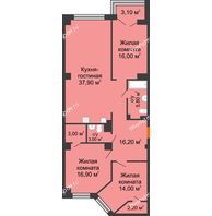 4 комнатная квартира 117,6 м², ЖК Гагарин - планировка