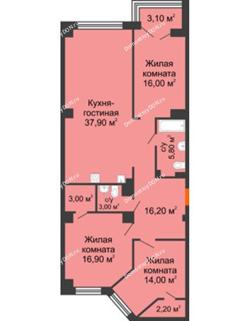 4 комнатная квартира 117,6 м² - ЖК Гагарин