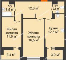 2 комнатная квартира 62,7 м² в ЖК Дружный 2, дом Литер 3.3 - планировка