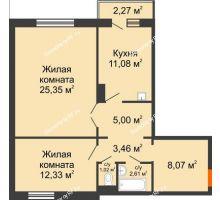 2 комнатная квартира 69,6 м² в ЖК Иннoкeнтьeвcкий, дом № 6 - планировка