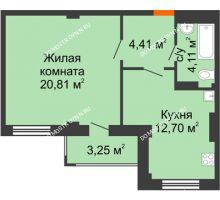 1 комнатная квартира 43,66 м² - ЖК Семейный