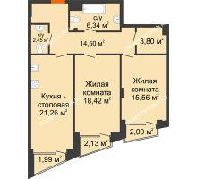 2 комнатная квартира 84,17 м², Клубный дом на Ярославской - планировка