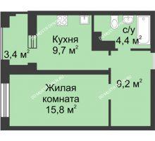 1 комнатная квартира 40,8 м² в ЖК Аквамарин, дом №8 - планировка