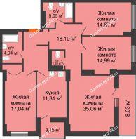 4 комнатная квартира 117,15 м² в ЖК Аврора, дом № 2 - планировка