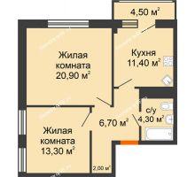 2 комнатная квартира 63,1 м², ЖК Дом № II-3 в мкр. Елецкий - планировка