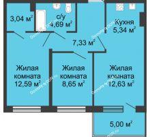 3 комнатная квартира 59,27 м² в ЖК Времена Года, дом № 1